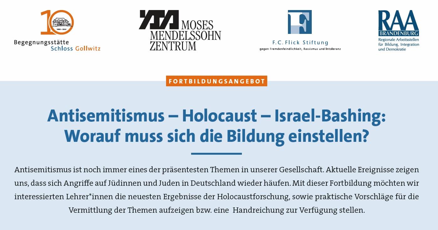 Fortbildung: Antisemitismus – Holocaust – Israel-Bashing: Worauf muss sich die Bildung einstellen?